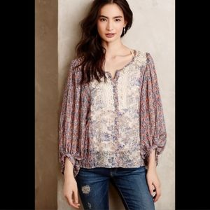 HD in Paris Chinoiserie Lace Peasant blouse
